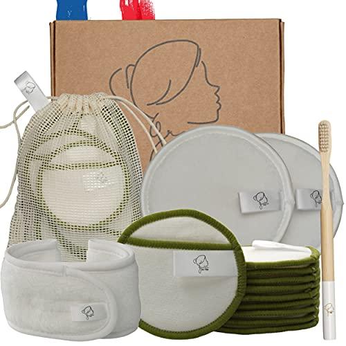 Kit 12 pcs Coton demaquillant lavable reutilisable bio : 10 tampons en fibre naturelle de bambou + 2 grands disques lingettes en microfibres + bandeau + sac à linge + brosse à dents en bambou offerte!