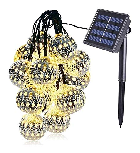 Lámpara de pared a prueba de polvo a prueba de agu Luces solares de la cadena luces, blanco cálido, 50 Globe marroquíes Bolas, 23ft LED cadena luces de hadas, iluminacion solar, iluminación for Navida