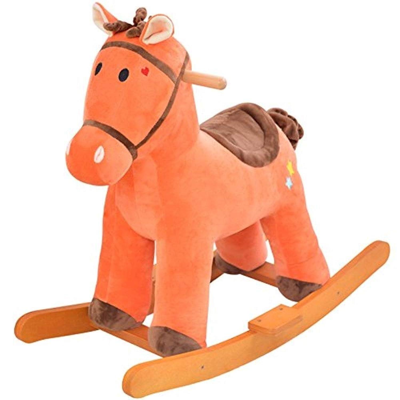 木馬?ロッキング 子供のぬいぐるみ固体ロッキングホース赤ちゃんトロイの木馬赤ちゃんのおもちゃロッキングチェア1?4歳 ロッキングホース