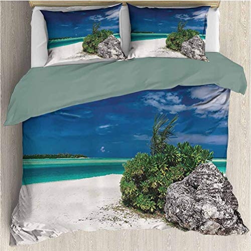 Seaside Decor Collection King Size Sheet Set, Quilt 3 Piece Bedding Set (1 Duvet Cover + 2 Pillowcases) Green Teal Blue