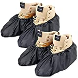 LINKEASE Reusable Boot & Shoe Covers Water Resistant Non Skid and Washable for Real Estate Contractors to Keep Floors Carpets Footwear and Rooms Clean - 2 Pairs (Large, Black)