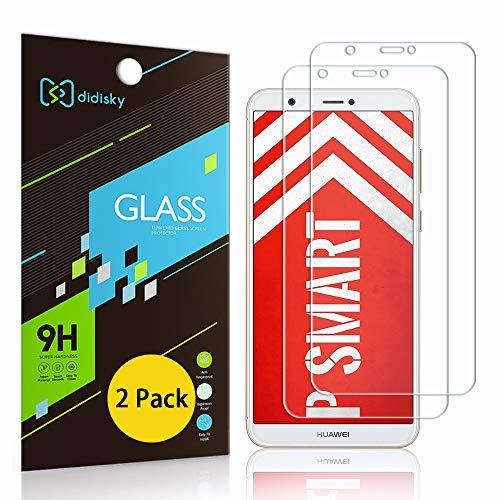 Didisky [2-Unidades Cristal Templado Protector de Pantalla para Huawei P Smart, Antihuellas, Sin Burbujas, Fácil de Limpiar, 9H Dureza, Fácil de Instalar, Transparente