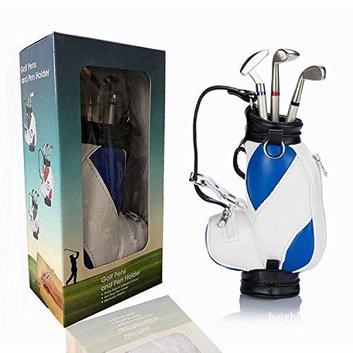 Amrta Golf Pen Set Mini Desktop Golfball Stift Geschenk,Golf Kugelschreiber und Flag Schreibwaren Dekorationen Für Golfer Fans Damen Herren Kinder (Golf Bag-Blue/White)