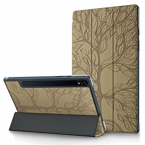 TTNAO Funda para Samsung Tab S7 2020 Model SM-T870 SM-T875 Cuero Premium Carcasa Tablet Carcasa Auto Reposo/Estela Ranuras Diseño Anti-rasguños Case,Avanzado Arbol de la Vida Tirano de Oro