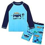 HUAANIUE Bébé Maillots de Bain Confort Deux-pièces Manches Longues + Shorts Garçon Combinaison Piscine Anti- UV Enfant Costume de Maillot