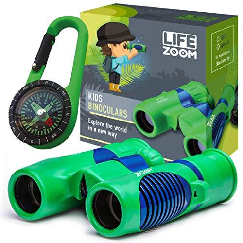 Kids Binoculars and Compass - 8x21 Compact Binoculars for Kids - High Resolution Real Optics - Bird Watching- Small Binoculars for Kids 5-12, Boys, Girls - Outdoor Play - Hunting - Camping