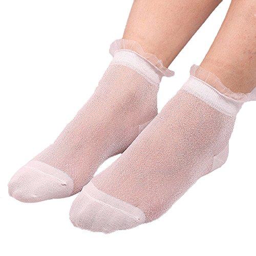 ZZBO Frauen Fischnetz Söckchen mit Spitze Rüschen Niedliche Ankle Socks Sheer Socken Feine Elegante Socken Fashion Durchsichtig Söckchen mit Komfortbund Ultradünne Transparent Socke