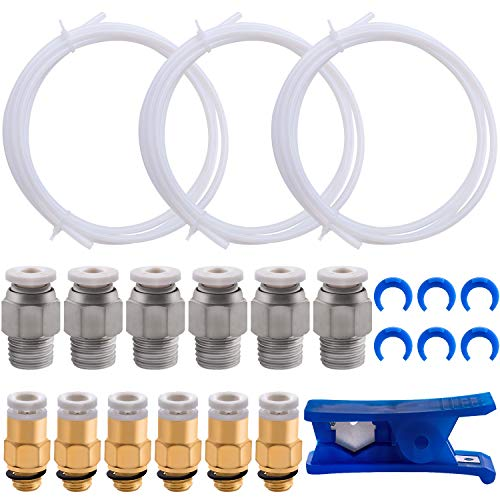 BQTQ 3 Pcs Teflon Tube PTFE White Tubing (1.5m) with 6 Pcs PC4-M6 Fittings, 6 Pcs PC4-M10 Fittings Connector, 1 Pc Tube Cutter and 6 Pcs Blue Collet Clips for 3D Printer 1.75mm Filament