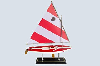 LK Scale Models Wooden Classic Red & White Sunfish Model Sailboat Decoration 16