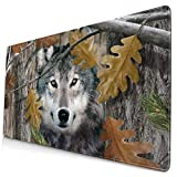 AOOEDM Alfombrilla de ratón Wolf Extended Large Mouse Pad 15.8 X 29.5 in Funny Design Computer Gaming Mouse Mat Desk Non-Slip Rubber Base Mousepad for Office/Home