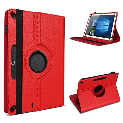 UC-Express Tablet Hülle kompatibel für Odys Space One 10 Tasche Schutzhülle Cover Schutz Hülle 360° Drehbar Klapphülle, Farben:Rot