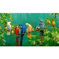 森のオウムキャンバスウォールアートポスターとプリントリビングルームの自然の風景写真ホームポスター装飾(70x140cm)フレームなし