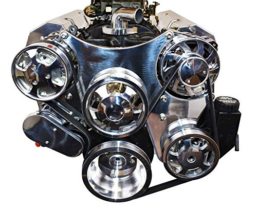 A-Team Performance Small Block Serpentine Front Drive System Complete With Brackets and Pulleys, Water Pump, Alternator, A/C Compressor and Power Steering Reservoir Compatible with Chevy Chrome
