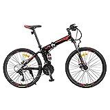 Bicicleta plegable bicicleta de montaña 27-velocidad fuera de la carretera Doble amortiguación de la bicicleta, estudiante masculino juventud adulto ciudad a caballo de la bicicleta todoterreno,Rojo