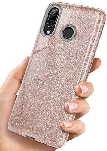 OneFlow Cover Glitterata Compatibile con Huawei P Smart 2019   Rivestimento antiabrasione, Rosa Dorato