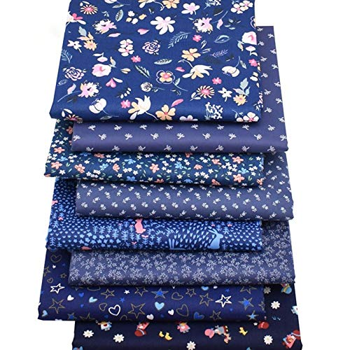 ZHANGAIGUO 100% Cotton Dark Blue Floral Series, Patchwork Cloth For DIY Handmade Sewing Quilting Covering Fabric Set
