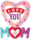 <span class='highlight'>Qualatex</span> 82552 Love You Mum/Mom Dots 33 Inch Supershape Foil Balloon