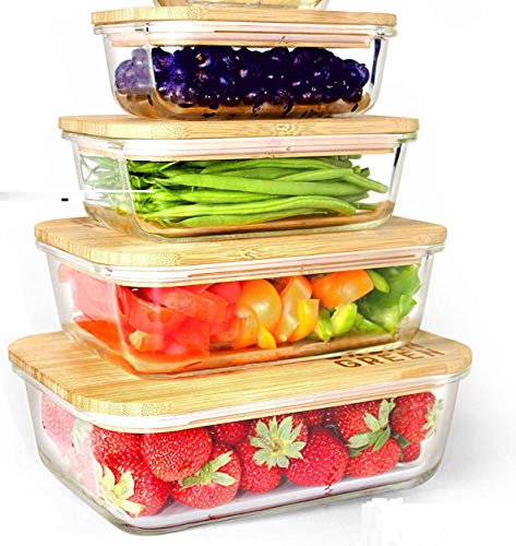 Glass Food Container 4pk Set Rectangular Food Storage Containers with Eco Friendly Airtight Bamboo Wood Lids Plastic Free Heat and Cold Resistant Glass Ideal for Lunch Meal Prep and Baking