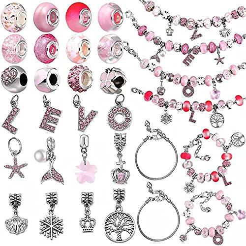 GvvcH Kit de fabricación de pulseras para novias, amantes de parejas, joyería de pulsera de serpiente con colgante L O V E