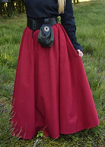 Mittelalterlicher Rock, weit ausgestellt, rot aus Baumwolle Größe S - 2
