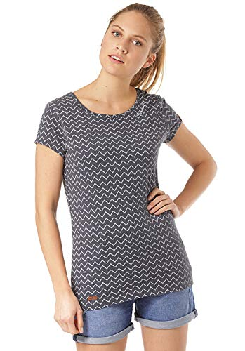 Ragwear T-Shirt Damen T-Shirt Mint Zig ZAG 1911-10027 Dunkelblau Navy 2028, Größe:XS