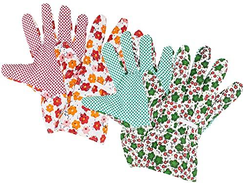 Selldorado® 2X Premium Gartenhandschuhe für Damen in Rot und Grün mit Blumenmuster - Pflanzenhandschuhe für Frauen zum Arbeiten im Garten - optimaler Grip und Schutz