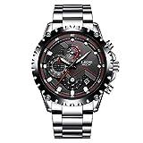 Mode Chronograph Analoger Quarz Herrenuhren Multifunktions Auto Datum Silber Edelstahlband Armbanduhr mit schwarzem Zifferblatt