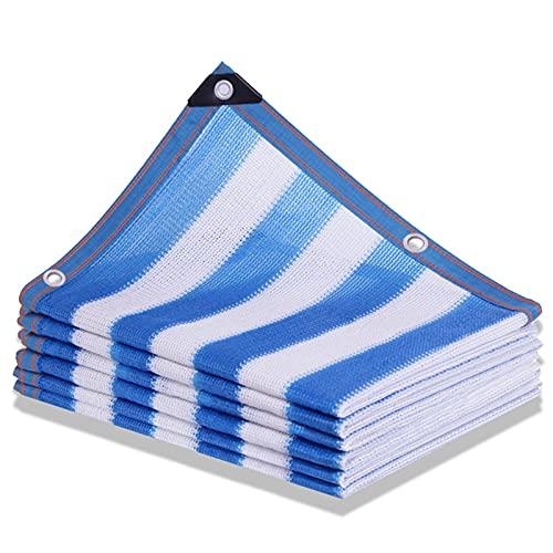 Bloqueador Solar de Red de Malla Respirable del Malla Resistente a los Rayos UV, para Estanque, Red para jardín o Planta Tela de Malla Malla Sombreadora Raya Azul/Blanca (Size:3m x 8m)