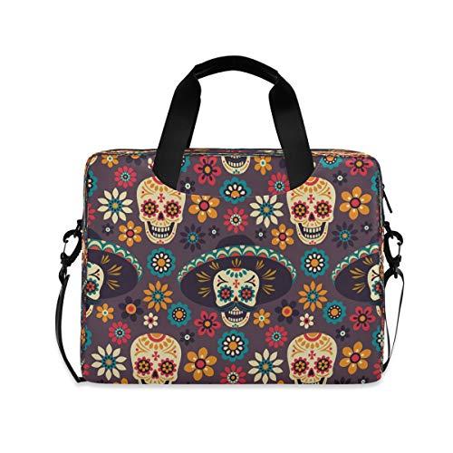 YKMUSTwin Flower Sugar Skull Tribal 13-15.6 Inch Laptop Shoulder Messenger Bag Laptop Case Sleeve with Strap Computer Briefcase for Women Men Boy Girls