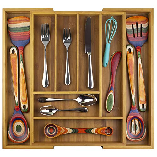 Totally Bamboo Kitchen Drawer Organizer Expandable Silverware Organizer and Utensil Holder 8 Compartments with Dividers