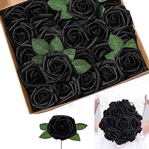 Risareyi 25 Stück Künstliche Blumen Rosen Schaumrosen Kunstblumen Foamrosen Gefälschte Kunstrose für DIY Hochzeit Blumensträuße Braut Zuhause Dekoration Schwarz