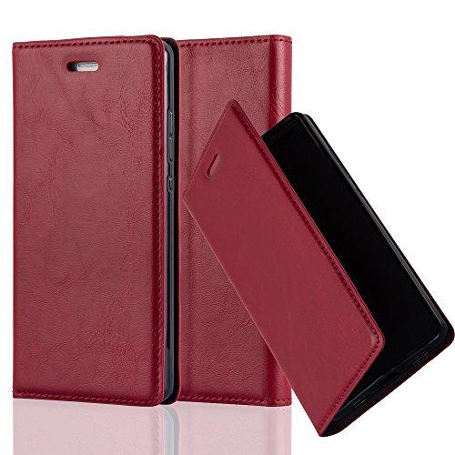 Cadorabo Hülle für Huawei P8 LITE 2015 - Hülle in Apfel ROT – Handyhülle mit Magnetverschluss, Standfunktion & Kartenfach - Hülle Cover Schutzhülle Etui Tasche Book Klapp Style