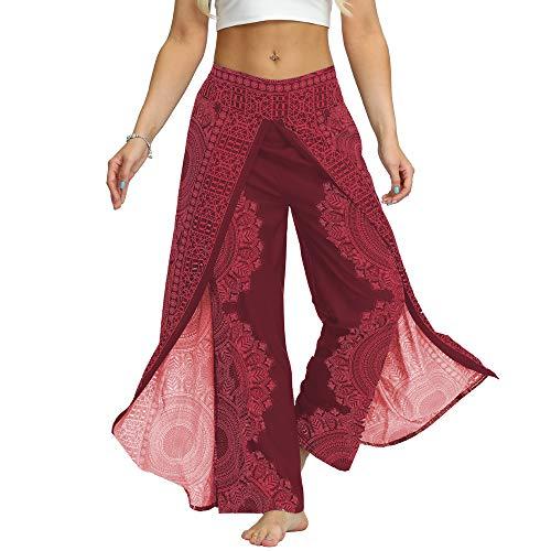 Nuofengkudu Women's Split Wide Leg Palazzo Trousers Yoga Pants Boho Patterned High Waist...