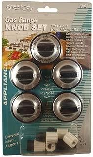 Aqua Plumb RKG Gas Range Knob Set Replacement, Black with Silver Overlay, by Aqua Plumb