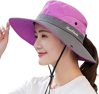 Yimidear Summer Sun Hat, Women Girls Foldable Wide Brim Hat UV Protection Bucket Cap Ponytail for Beach Safari Fishing