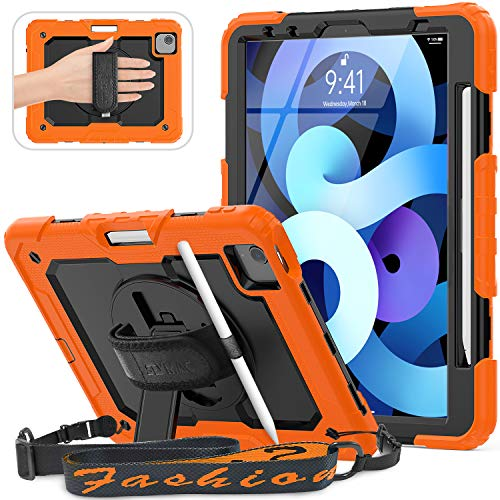 """SEYMAC New iPad Air 4 Case 10.9"""" & iPad Pro 11 2020/2018 Case with Pencil Holder [360 Degree Swivel Stand], Hand/Shoulder Strap, [Screen Protector] for iPad Pro 11, Support Apple Pen 2 Charging,Orange"""