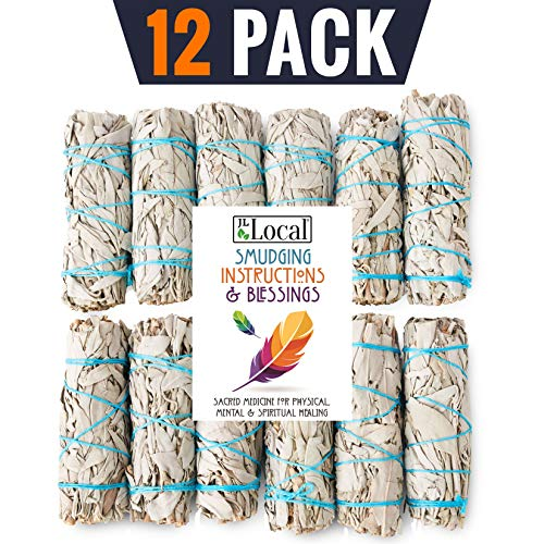 JL Local 12 Pack White Sage Smudge Sticks for Smudging & Cleansing | Smudge Kit White Sage Incense Sticks for Cleansing