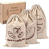 Linen Bread Bags for Loaf Storage, Bags for Homemade Breads, Pack of 3 Reusable Linen Bags for...