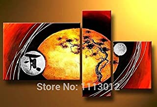 DIU Hand Painted Home Decoration 3 Panel Pine Set Abstract Yellow Tree Oil Painting Modern On Canvas Wall Picture For Livi...
