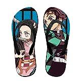 Demon Slayer Kimetsu No Yaiba Anime Pantuflas Tanga Sandalias Playa Zapatillas Para Mujeres Hombres Actividades Diarias Interior Al Aire Libre, color Negro, talla Small/Medium