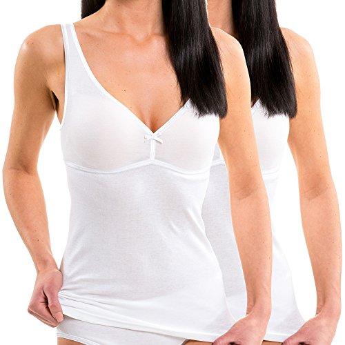 HERMKO 175803860 Damen BH-Hemd 2er Pack (Weitere Farben), Farbe:weiß, Größe:48/50 (XL)