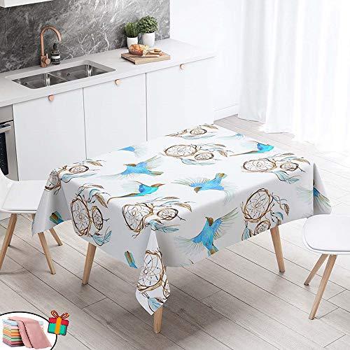 Morbuy Nappe Anti Tache Rectangulaire,Imperméable Étanche à l'huile 3D Imprimé Carrée Couverture de Table Lavable pour Ménage Cuisine Jardin Picnic Exterieur (Bleu Oiseau,90x90cm)