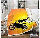 BEDJFH Puesta de Sol Amarilla 3D Sherpa Manta Motocross Manta de Felpa 130cm x 150cm Manta de Lana Sobrecama para Baby Shower Mantas para Cama Sofá Dormitorio Vivero