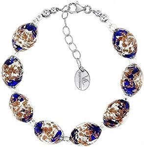 Venetiaurum - Pulsera para mujer con perlas de cristal original de Murano y plata 925 – Fabricado en Italia certificado