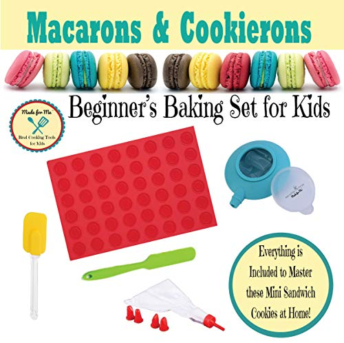 Kid's Baking - Macarons & Cookierons - Beginner's Baking Gift Set for Children with Online Virtual Class Tutorials!! - from the makers of Pancake Party Art Kits & Beginner's Kids Chef Knife! Macaroons