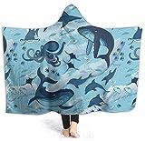 coperta con cappuccio super morbida per interni ed esterni, coperta con cappuccio | coperta indossabile | adatta per bambini e adulti, Halloween Delfino 50x40 inch