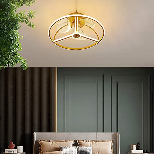 DULG Ventiladores de techo con luces para dormitorio Candelabro silencioso Ventilador LED moderno Luz de techo con control remoto 50cm Regulable 3 velocidades Ventilador Luz de techo Temporizador de s