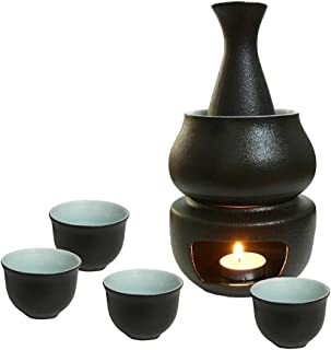 KCHAIN Ceramic Sake Set with Warmer Gift Box include 1pc Sake Bottle, 4pc Sake Cups, 1pc Warmer Cup, 1pc Candle Heating Stove (Black+Blue)