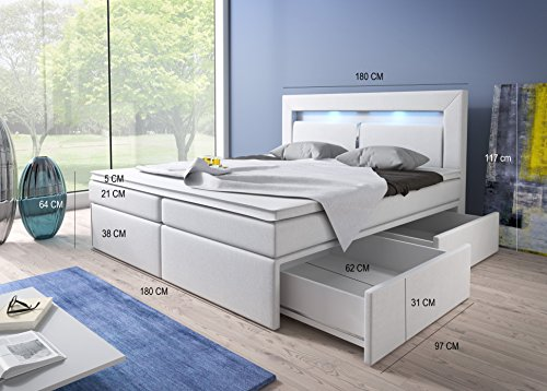 Boxspringbett 180×200 Weiß mit Bettkasten LED Kopflicht Kunstleder Hotelbett Polsterbett Brüssel (180 x 200) - 3