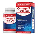 U.S. Doctors' Clinical Omega 3 Fish Oil 1000 mg Concentrated Support for Brain, Joint, and Heart Health with EPA and DHA Fatty Acids to Promote Cognition, Memory, Vitality (1-3 Month – 90 Softgels)